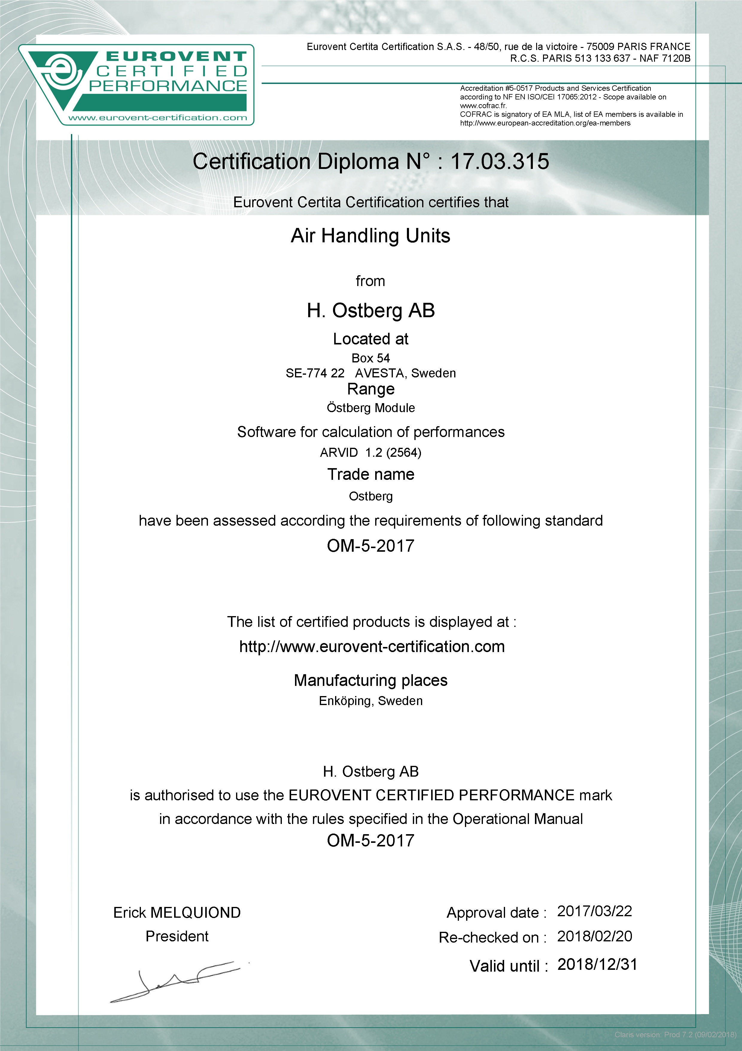 Eurovent Certifikation